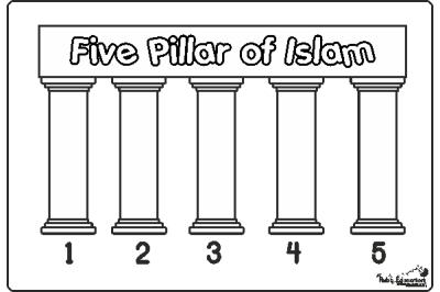 Coloring Page 5 Pillars Of Islam : Colouring Sheet 5 Pillars